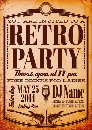 vector template for a retro party, concert, events Vectores