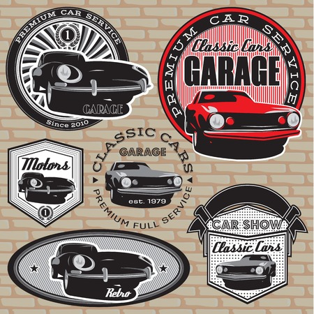 set of vector emblems with retro car on wall Vector