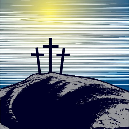golgotha: vector illustration with mountain with three crosses
