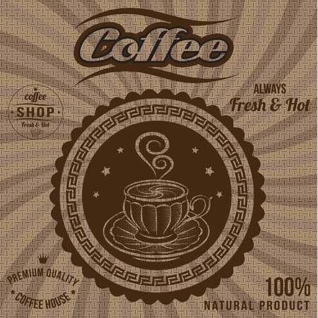 sacking: vector label for coffee on background with sacking Illustration