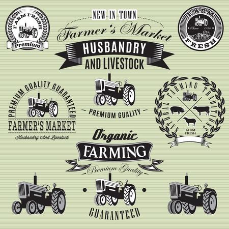 grain farm: set of vector labels with a tractor for livestock and crop