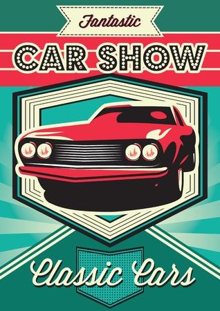 Vintage poster voor de tentoonstelling van auto's