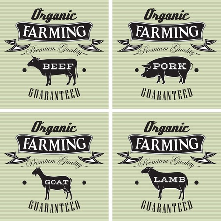 cattle grazing: icons on vintage background pig, cow, sheep, goat Illustration