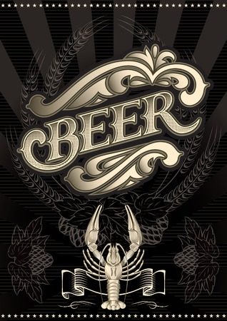 vector glass of beer on a black background for the menu Vector
