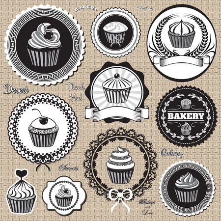 set of vector design elemnts icons for  baking and bakery Vector