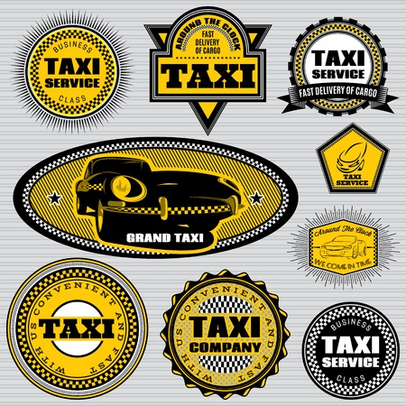 set of vector labels to topic taxi and trucking Vector