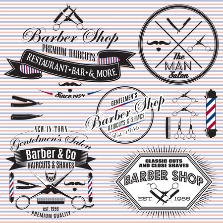 set of vector icons on a theme hair salon