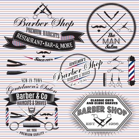 barbershop: set van vector pictogrammen op een thema kapsalon