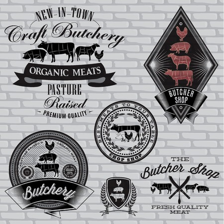 pork chop: set of labels for Butcher on a brick wall