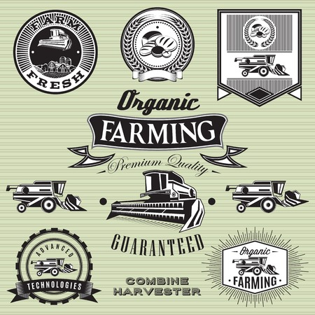 harvest field: set of labels on bread and combine harvester