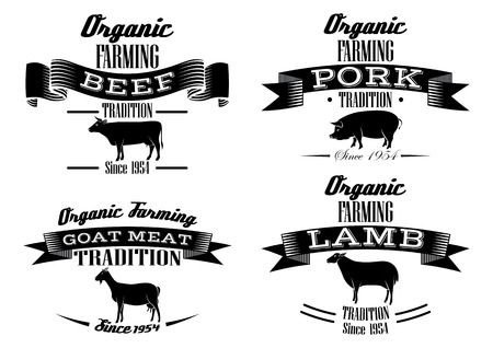 lamb chop: icons on vintage pig, cow, sheep, goat Stock Photo