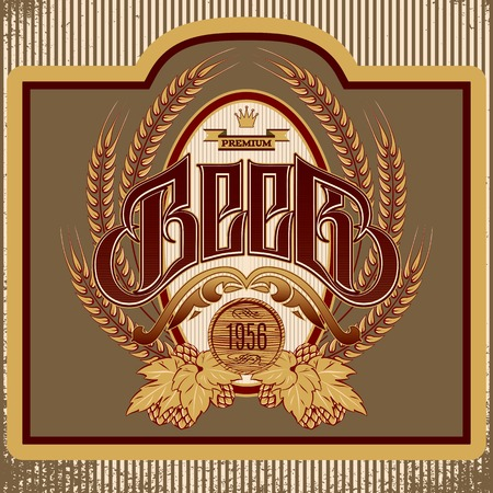 vector oval label with ornament inscription for beer Vector