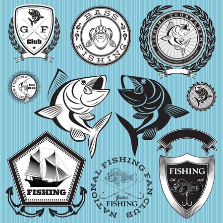 set of vector emblems on the topic fishing Vector