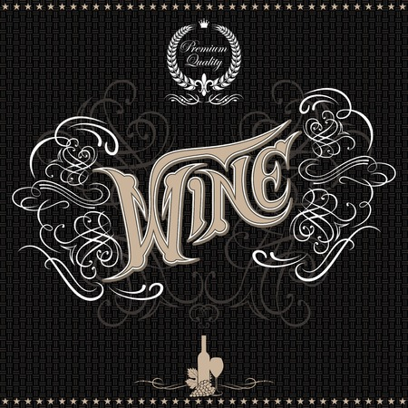 background with inscription wine and decorative ornament for menu Vector