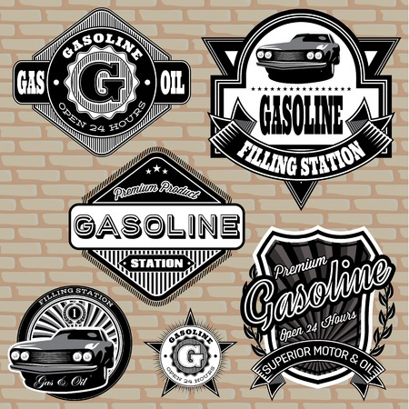 auto shop: set of vector labels on the topic gasoline