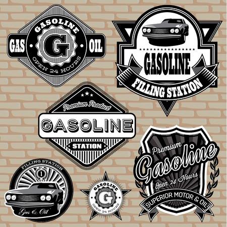set van vector etiketten op het onderwerp benzine
