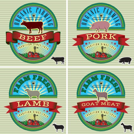 icons on vintage background pig, cow, sheep, goat Vector