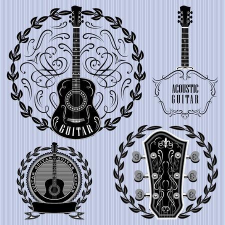 guitarra acustica: conjunto de etiquetas con las guitarras acústicas