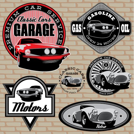 automotive repair: set of vector emblems with retro car on wall