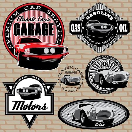 set van vector emblemen met retro auto op de muur