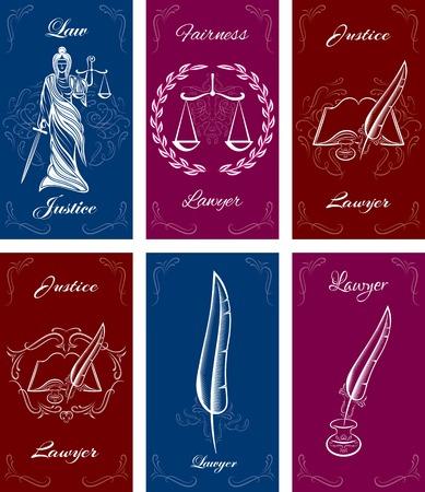 dama de la justicia: conjunto de plantillas para tarjetas de visita en el derecho Vectores