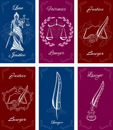 scale of justice: set of templates for business cards in law Illustration