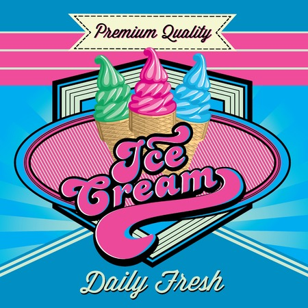Vintage vector background with ice cream and inscriptions