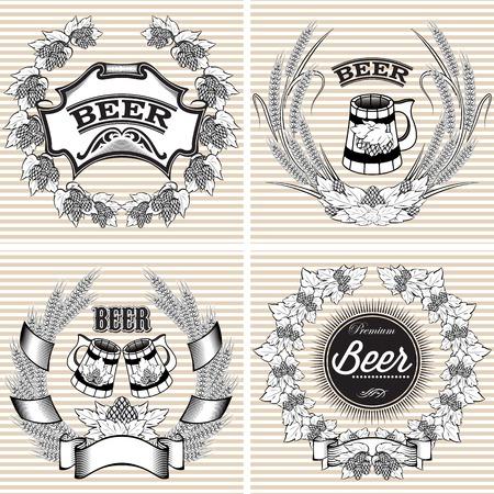 cerveza negra: juego de coronas de flores de vectores de centeno y lúpulo para la cerveza