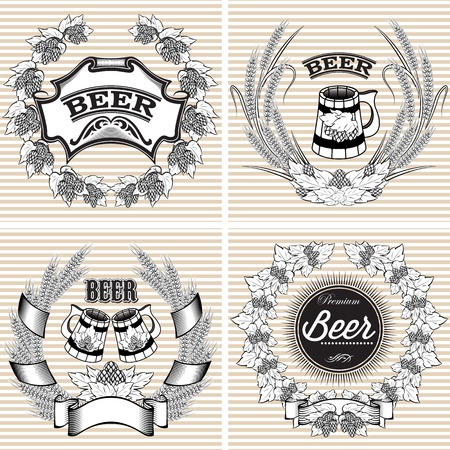 set of vector wreaths of rye and hops for beer Illustration