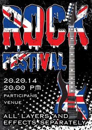 intertainment: Rock festival design template with guitar