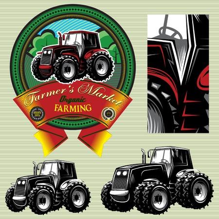 combinar: vector de la etiqueta con un tractor para el ganado y los cultivos Vectores