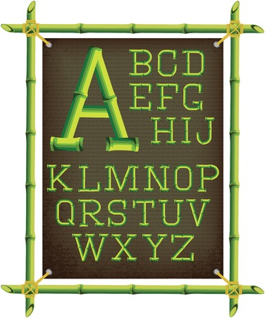 bamboo stick: bamboo frame with canvas and stylized alphabet Illustration