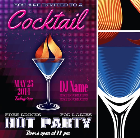 vector poster template for the cocktail party Çizim