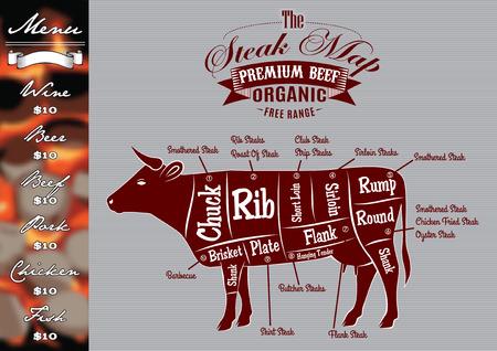 knippen: menu template voor het grillen met steaks en koe Stock Illustratie
