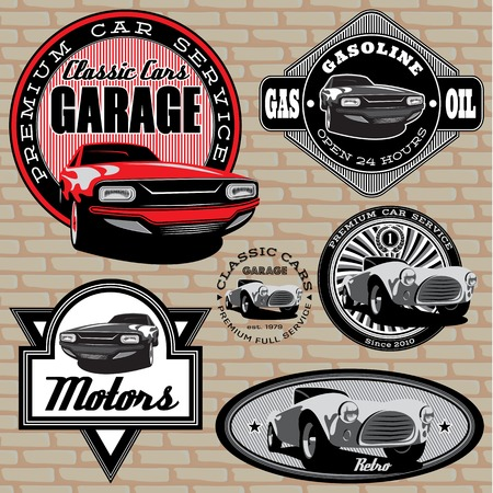traditional custom: set of vector emblems with retro car on wall