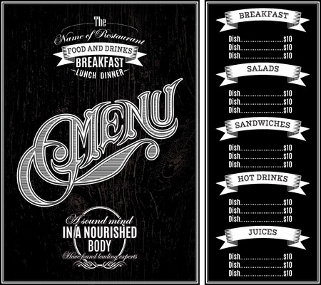 cover menu: black vector template for the cover of the menu Illustration