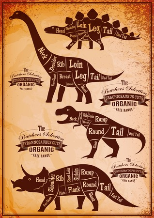 collection of vector dinosaurs with their cutting scheme