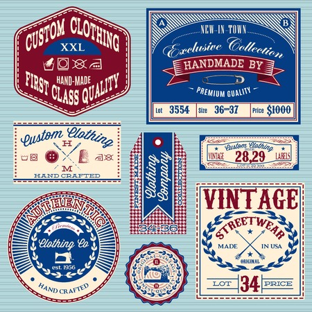 vintage clothing: set of vintage labels for stylish clothes