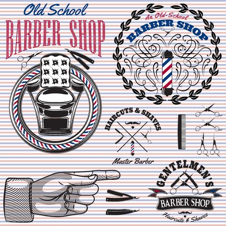 set of vector icons on a theme barber shop  イラスト・ベクター素材