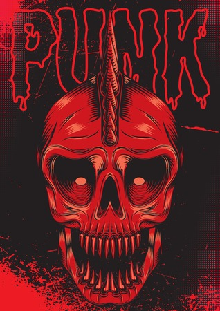 poster with a red skull for punk rock