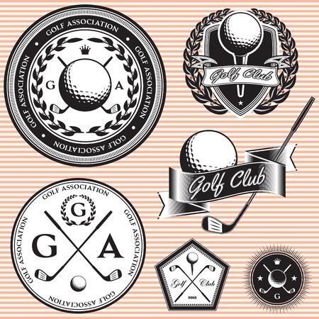 set van vector emblemen op onderwerp golfspel