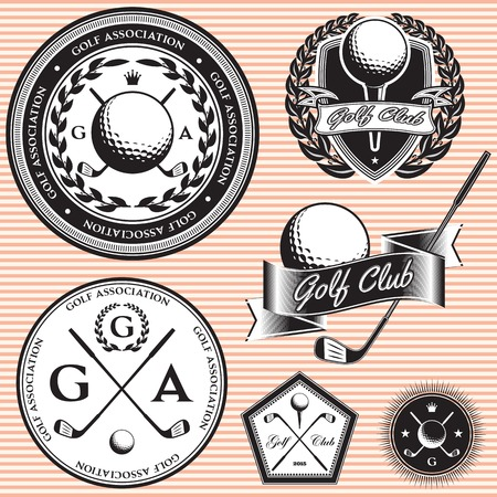 set of vector emblems to topic golf game