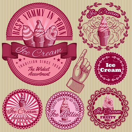 set of vector labels with ice cream for packing Vector