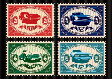 set of vector postage stamps with cars Vector