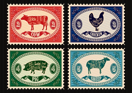 set of vector postage stamps with pets Vector