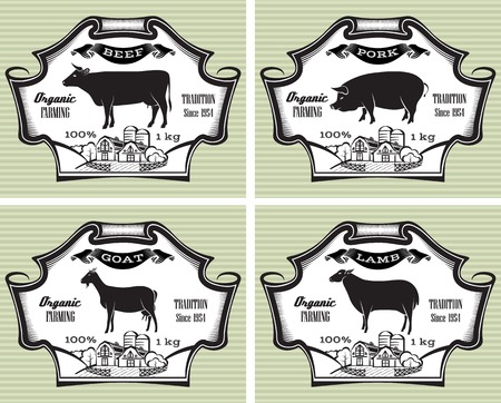 meat icon: icons on vintage background pig, cow, sheep, goat Illustration