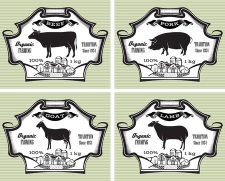icons on vintage background pig, cow, sheep, goat Illustration