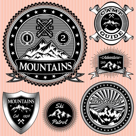 nordic ski: set of vector monochromatic emblems  with mountains