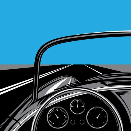 fascia: illustration with the road, sky and traveling car