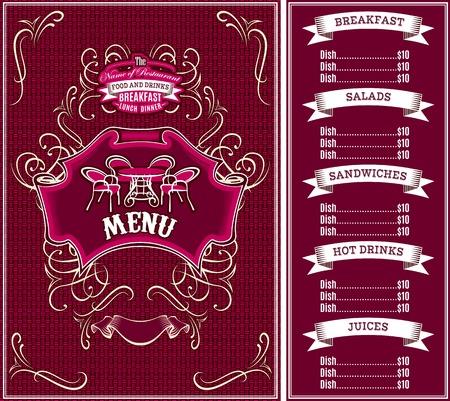 bordo: bordo vector template for the cover of the menu